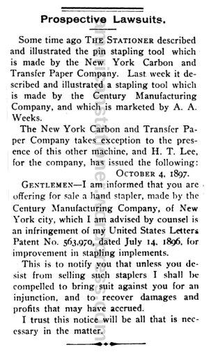 American Stationer, The 1897 July-December (ocr) 370 Lawsuit Notice wm