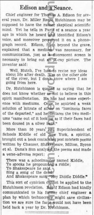 Brooklyn Daily Eagle Jan 20 1933 Hutchison Seance Story sm wm