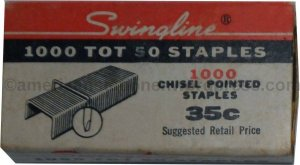 1970's era box of Tot 50 staples
