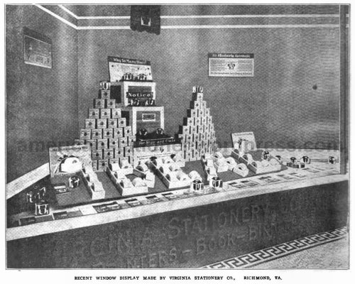 picture from a 1919 industry magazine showing a Sengbusch-themed window display