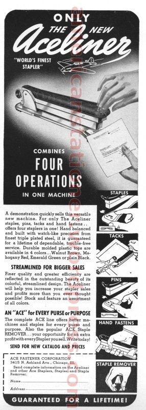 Ace Liner Model 502 Vintage Bakelite Stapler